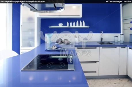 Desain Dapur Warna Biru Cetar Membahana Info Desain Dapur 2014