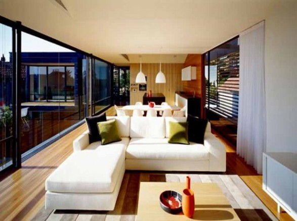 Modern design muston street private house accommodation in for Living room ideas australia