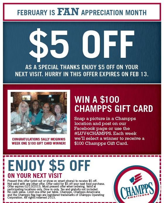 graphic regarding Champ Sports Printable Coupons named Champs cafe coupon - Stein mart charlotte spots
