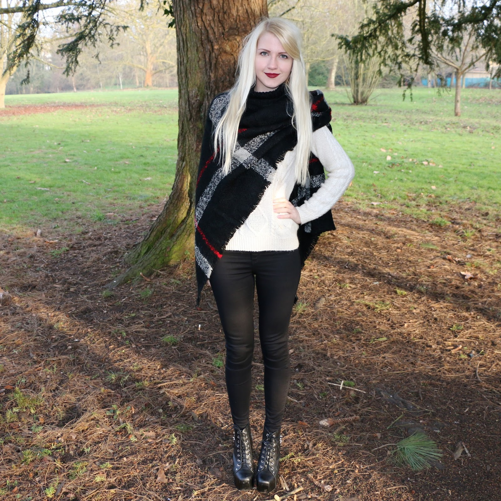 OOTD: Checked Poncho, Black Joni Jeans, Cream Jumper & Jeffrey Campbell Lita Spike Boots