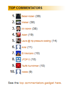 Top Commentator Widget Side Bar