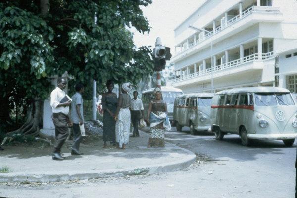 Vw combi taxibuses on a kinshasa street 1960s