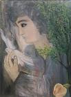 """Νότα Κυμοθόη """"Τριαντάφυλλα"""" Ελαιογραφία σε μουσαμά"""