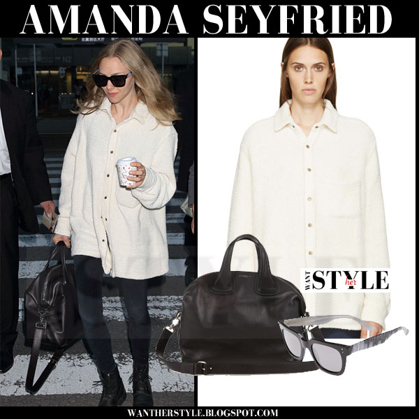 Amanda Seyfried in cream simon miller clayton shirt jacket and black leggings what she wore streetstyle