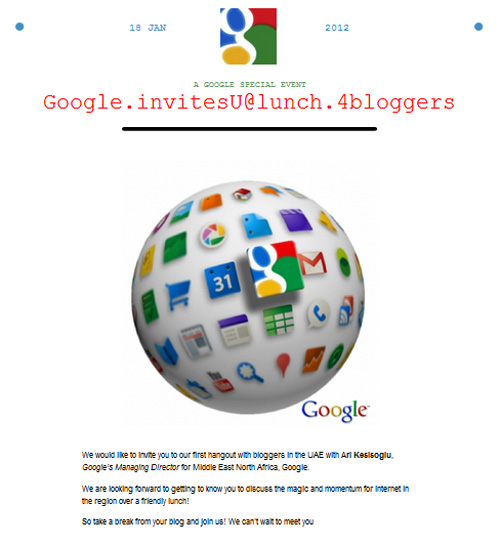 Exclusive Invitation for Bloggers in the UAE from Google Arabia