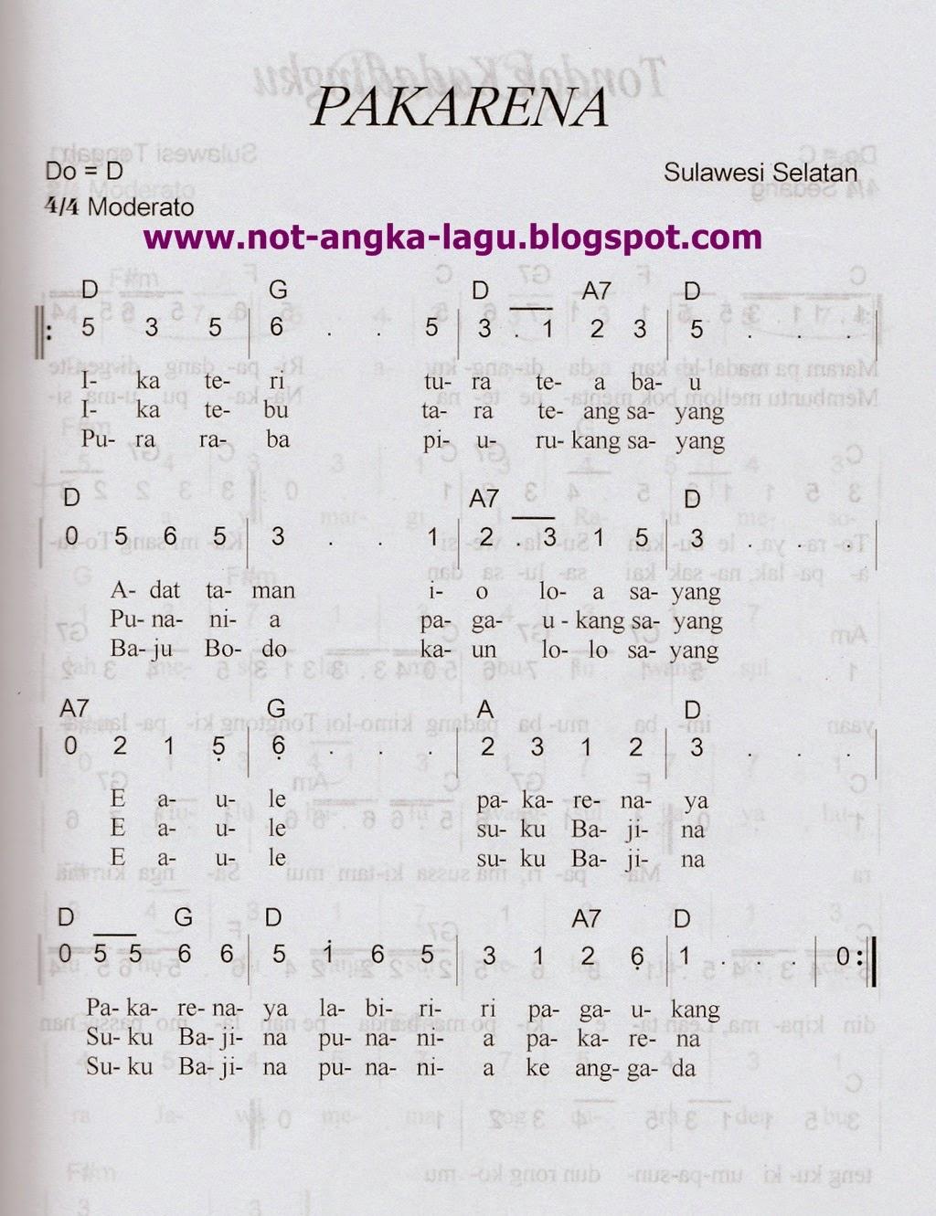 Not Angka Lagu Pakarena by: www.not-angka-lagu.blogspot.com