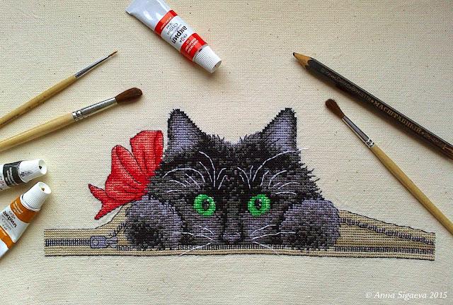 кот вышивка крестом