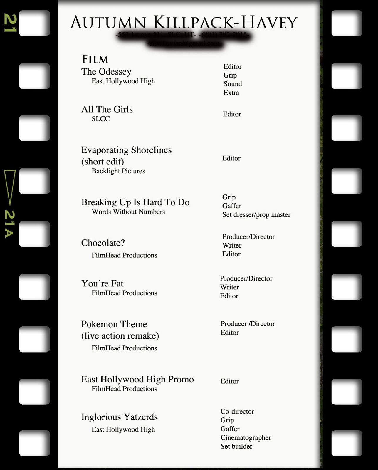 getting a job in the biz - Filmmaker Resume Template