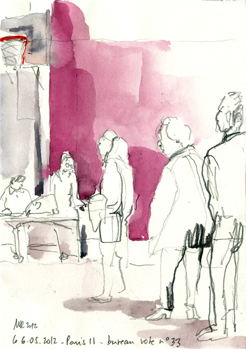 urban sketchers paris a paris du monde au bureau de vote. Black Bedroom Furniture Sets. Home Design Ideas