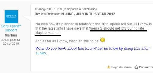 L'aggiornamento del Sony Xperia S sarà a fine maggio 2012
