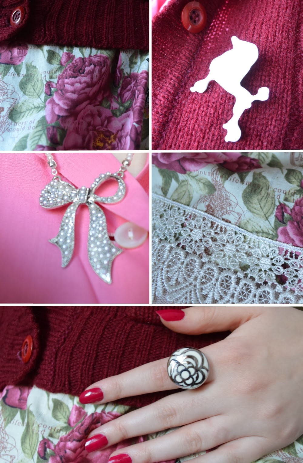 pink accessory poodle rose bow pearl lace