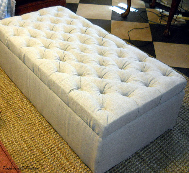 diamond tufted ottoman, linen blend fabric