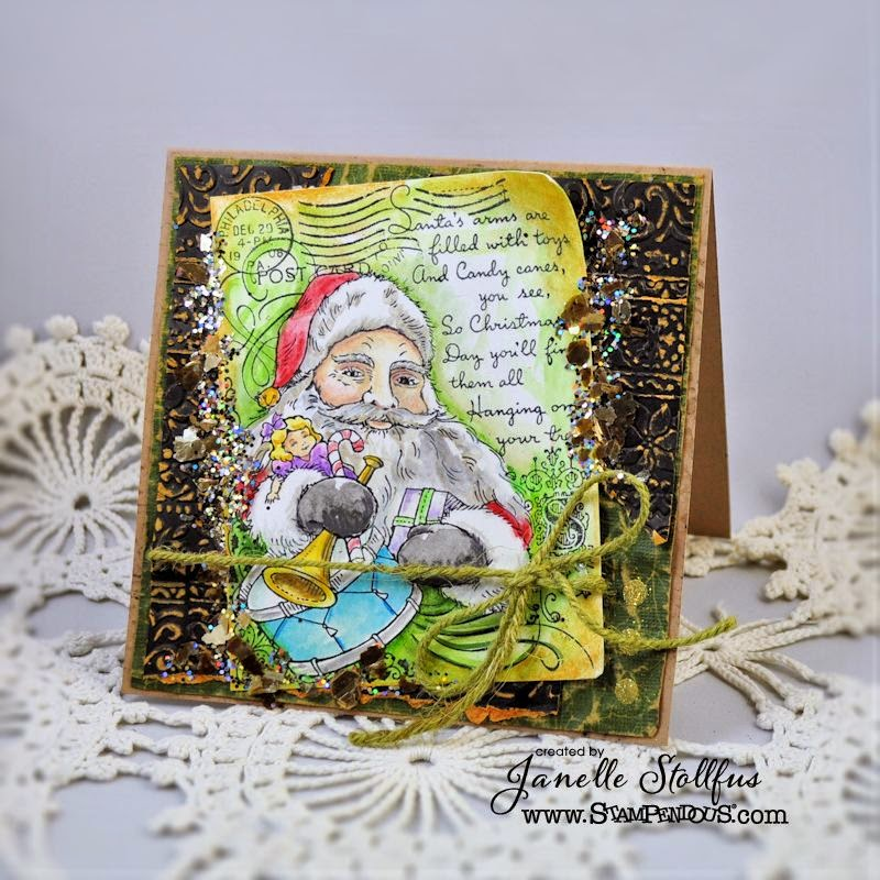 Stampendous Santa Collage Card by Janelle Stollfus