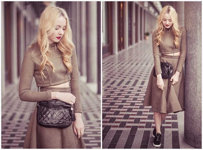 ChicWish 2014 AW Quilted Crop Top and Midi Skirt Set