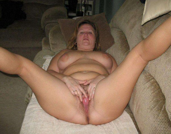 Chubby Wife Spreads Pubic Hair Pussy Vagina Labia Lips