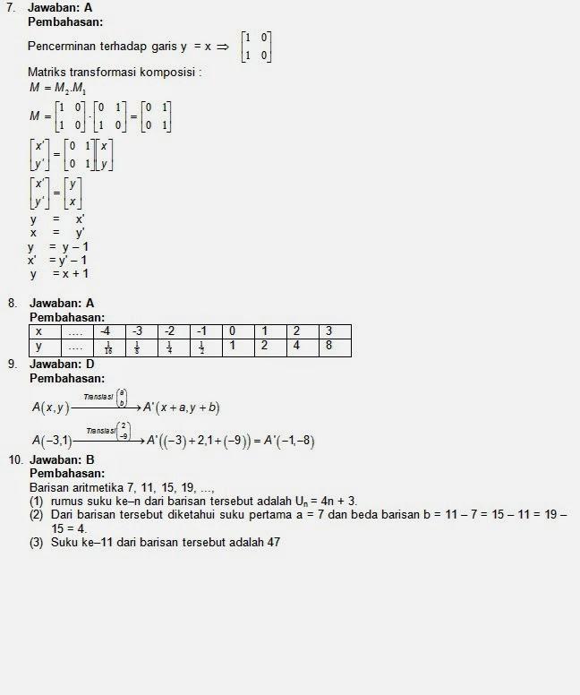 Soal Dan Kunci Un Matematika Sma Ipa 2013 2014 Download Soal Sma Ma Gratis