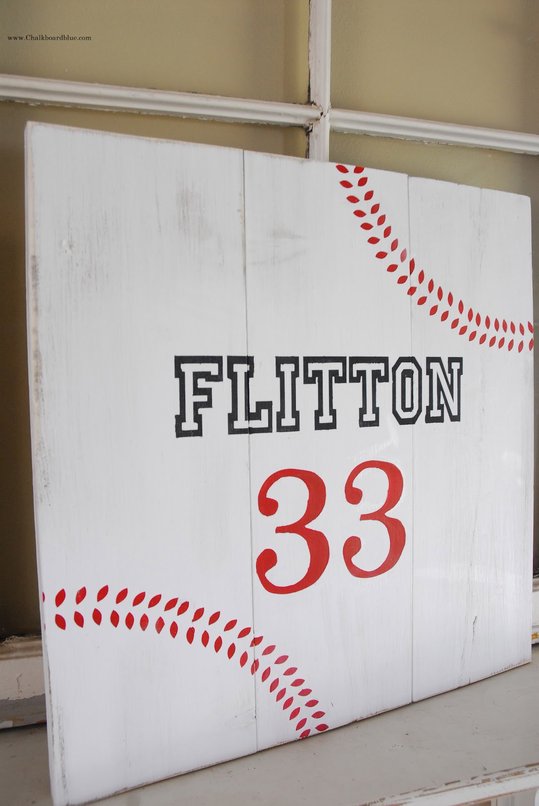 Baseball Board Sign With Chalkboard Blue