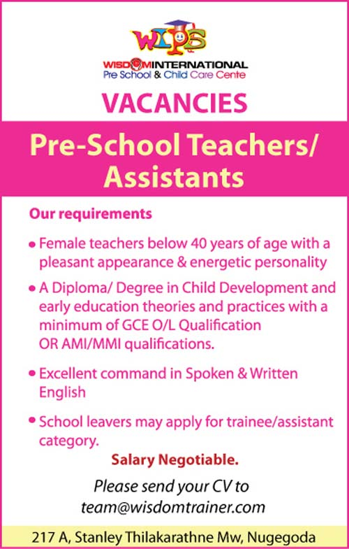 vacancies for pre  assistants at wisdom