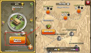 cari attack target yang banyak gold dan elixer clash of clans
