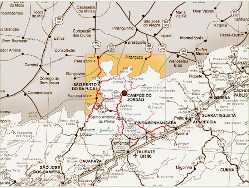 Mapa região Campos do Jordão