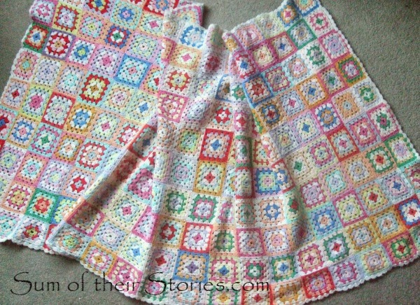 Multi coloured granny square blanket