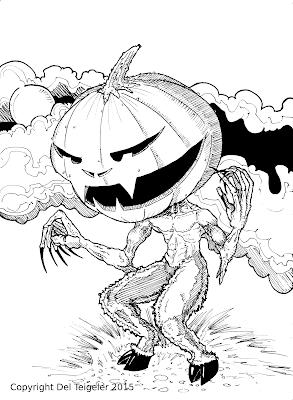 Pumpkin Headed Satyr by Del Teigeler, Mavfire