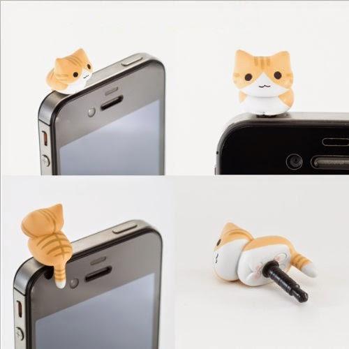 Tabby Cat Anti Dust Earphone Jack Plug for iPhone