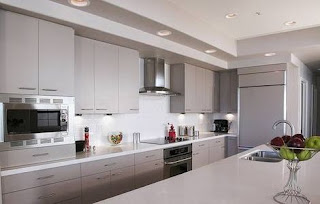 modern kitchen design in white with quartz countertop