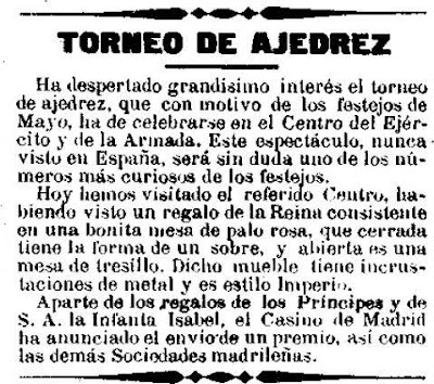 Recorte de El Día del 11 de abril de 1902 sobre el primer campeonato de España individual de Ajedrez