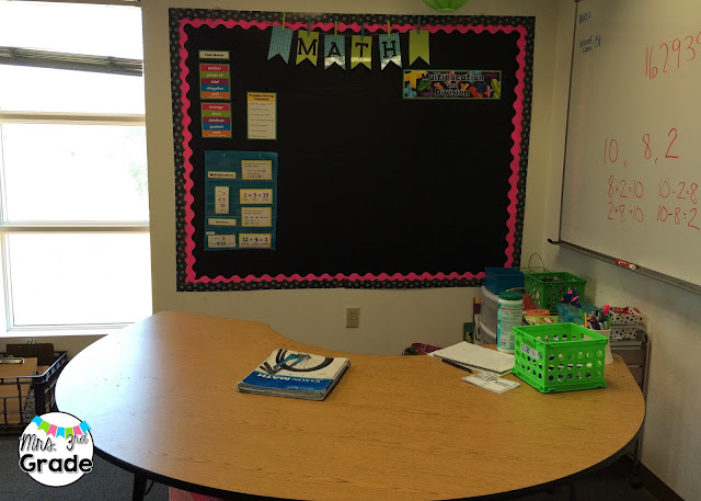 Small group area with math focus wall