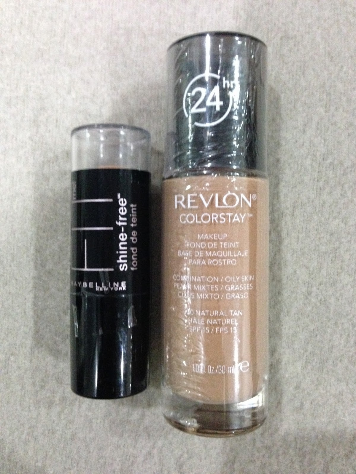 Revlon Colorstay Foundation for Combination/Oily Skin in shade 330 Natural Tan and the Maybelline Fit Me Foundation Stick in shade 240 Golden Beige.