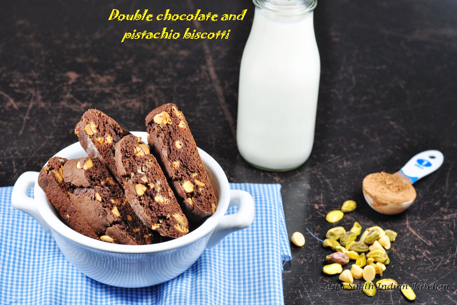 Double chocolate and pistachio biscotti for Baking ...