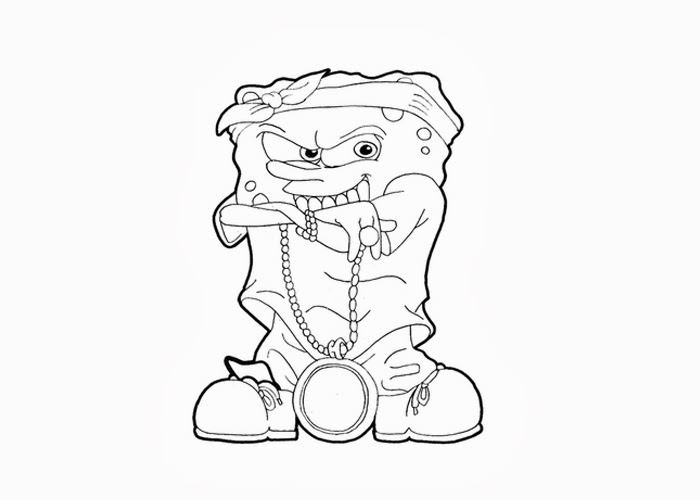 Spongebob Gangster Coloring Pages Free And