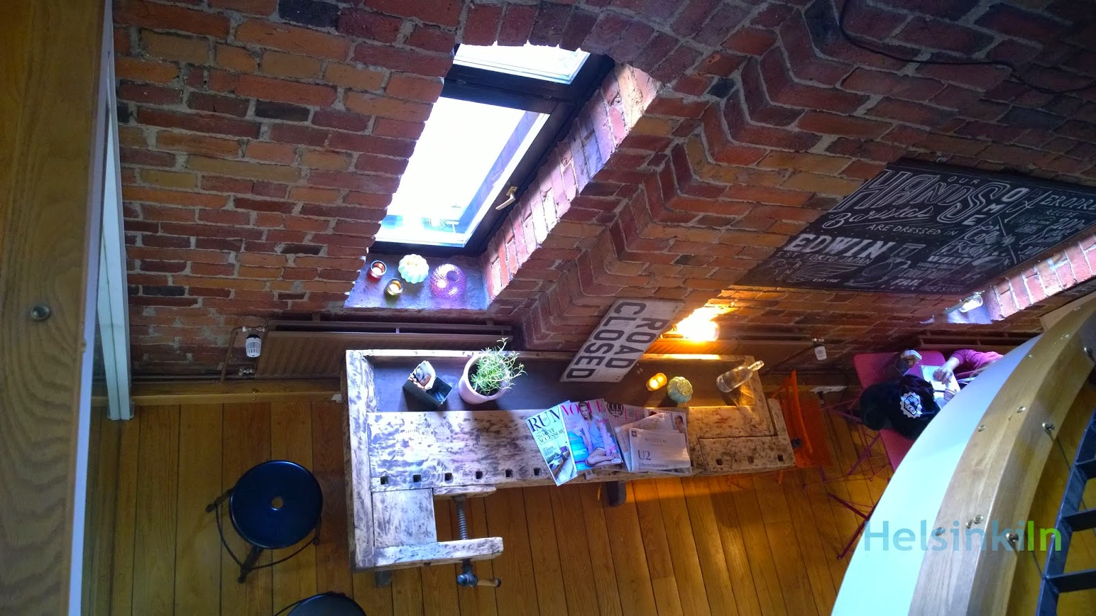 view down from the upper level at Café Kokko