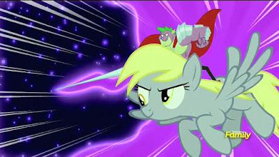 Spike rides Derpy into battle