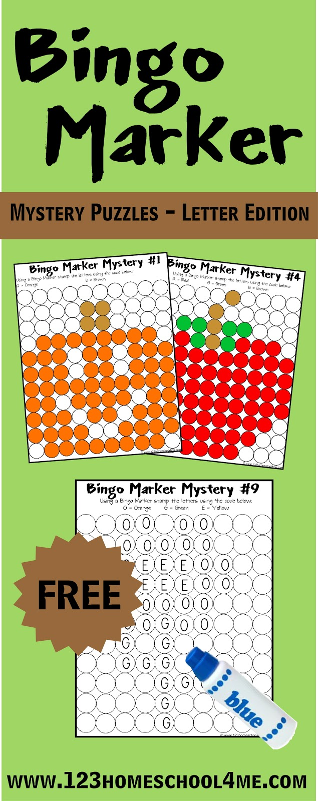 Bingo Marker Mystery Pictures Letter Edition – Mystery Worksheets
