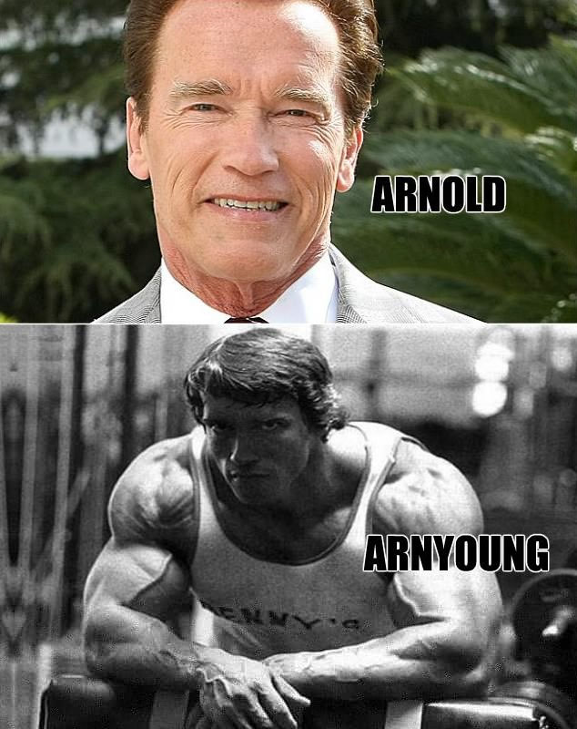 young Arnold Schwarzenegger vs old Arnold