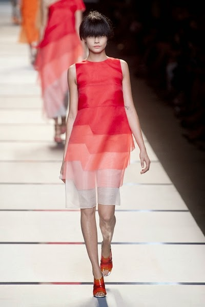 Fendi SS 2014 Red Layering Organza Dress