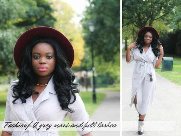 FASHION | THE GREY SLIT MAXI DRESS AND FULL LASHES FEATURING EBAY AND BROWHAUS