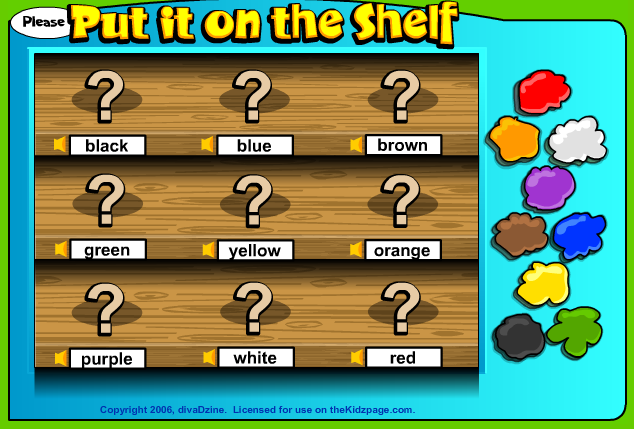 http://www.thekidzpage.com/learninggames/put-it-on-the-shelf/colors-game-online.html