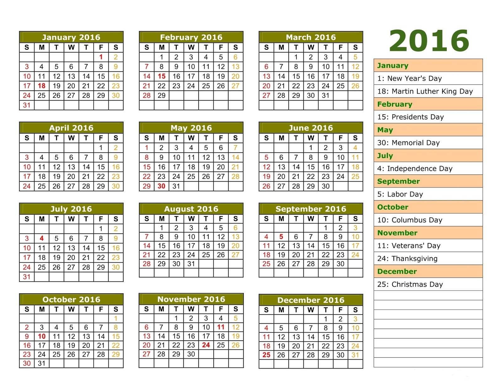 2016 Printable Calendar with European Holidays