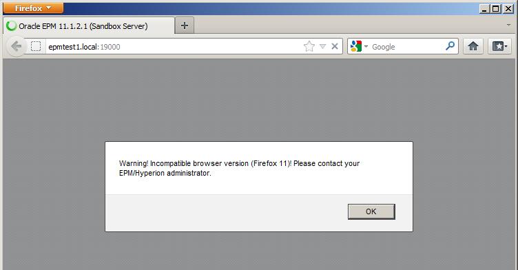 web browser alert window - Hyperion Administrator