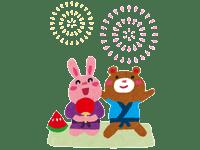 うさぎとクマの花火大会 | 花火のイラストや写真のフリー素材色々。無料で商用可