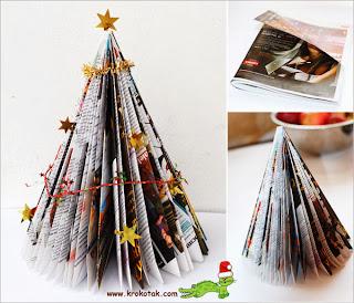 DIY Christmas Tree Recicling Magazines.
