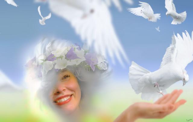chica con palomas