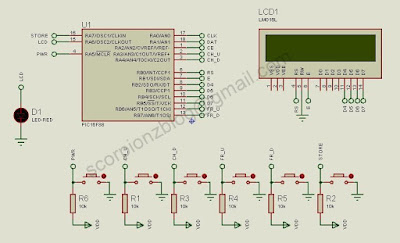 Schematic of micro-controller and user interrface