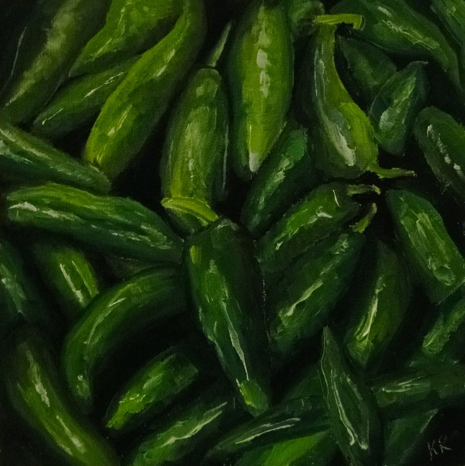 oil painting still life of green chilli peppers