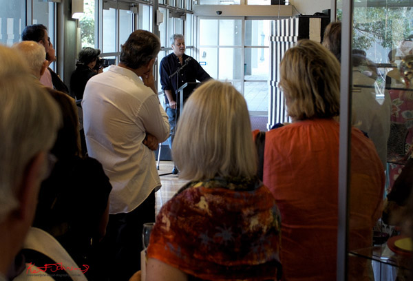 Ruark Lewis giving a speech at Hazelhurst Gallery for the Ruark Lewis 'Survey' opening 2012
