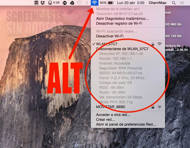 mostrar parametros wifi mac