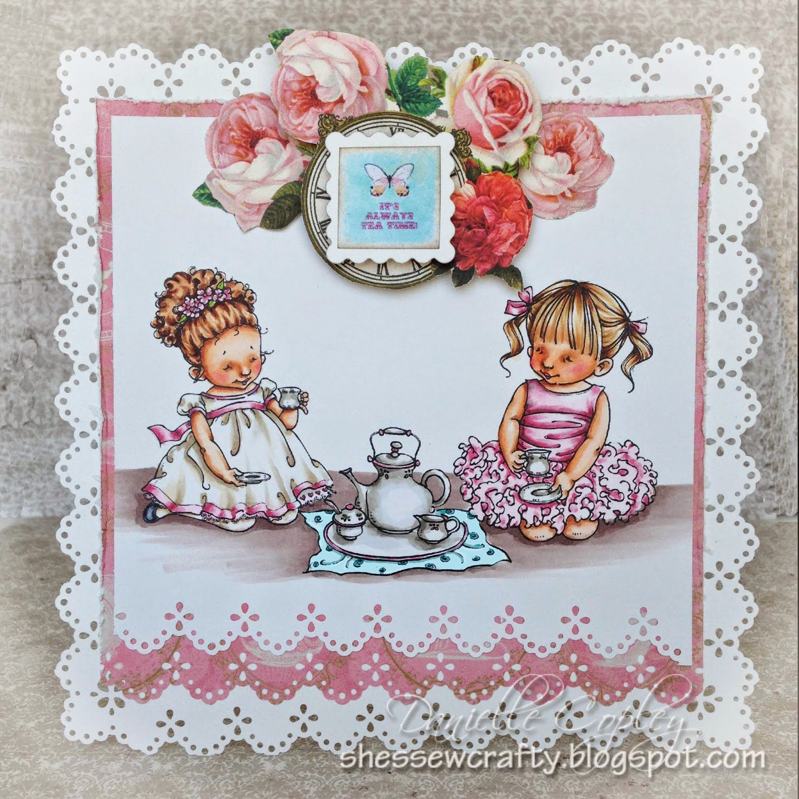 Mo's Digital Pencil, Tea for Three card using Marion Smith Mad Tea Party for Scrapbook Maven
